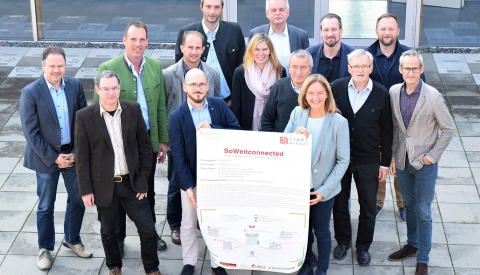 Die Akteure: Gemeinde Thannhausen, Energienetze Steiermark, Innovationszentrum W.E.I.Z., Innovationslabor Burgendland und EOS Powersolutions beim Kick-Off-Meeting, Fotocredit: Gemeinde Thannhausen / Projektteam SoWeiT-connected